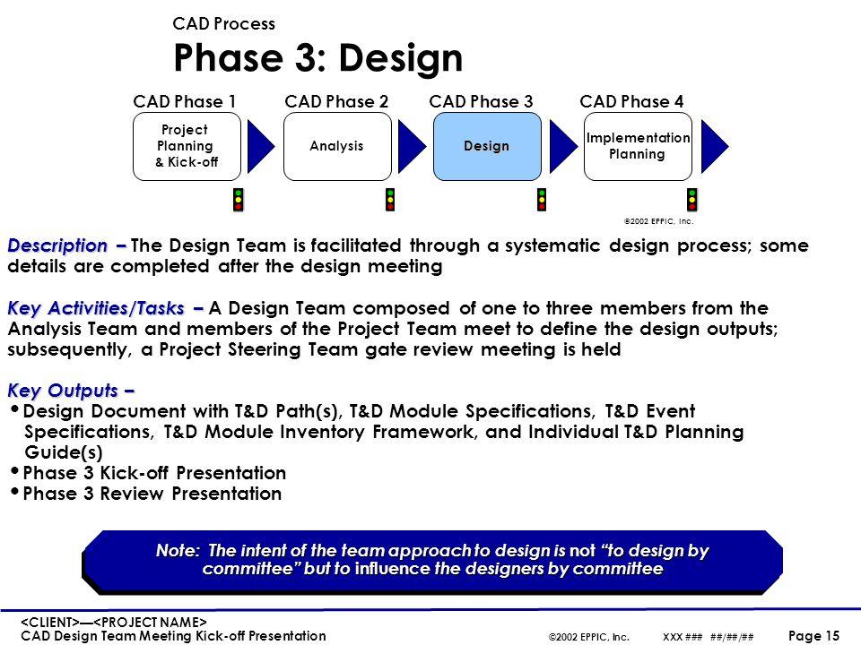 — CAD Design Team Meeting Kick-off Presentation ©2002 EPPIC, Inc.XXX ### ##/##/## Page 15 CAD Process Phase 3: Design Description– Description – The D