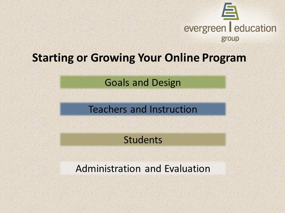 Starting or Growing Your Online Program Goals and Design Teachers and Instruction Students Administration and Evaluation