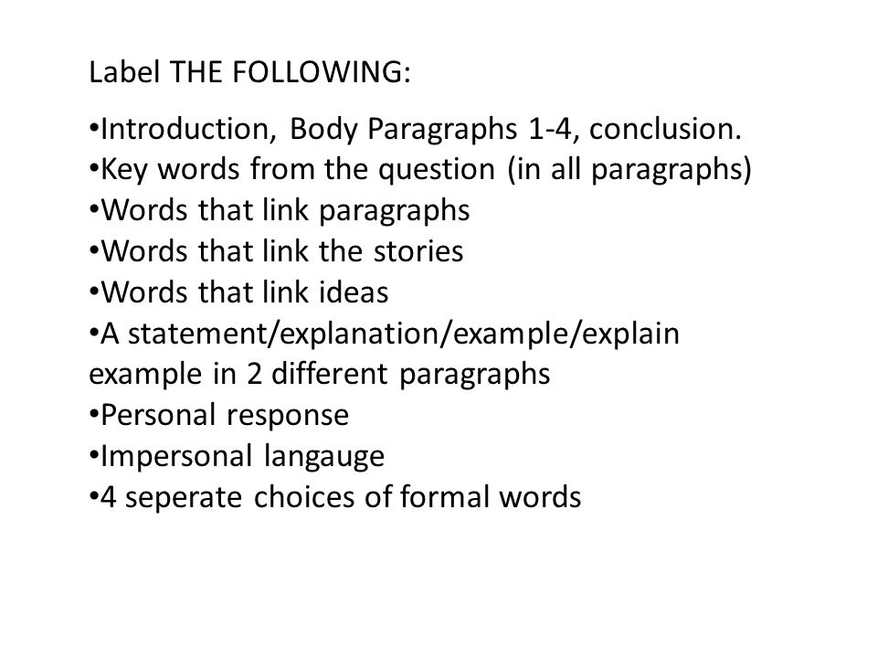 Label THE FOLLOWING: Introduction, Body Paragraphs 1-4, conclusion.