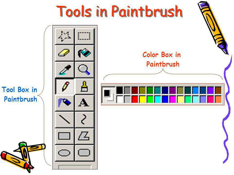 Tools in Paintbrush Tool Box in Paintbrush Color Box in Paintbrush