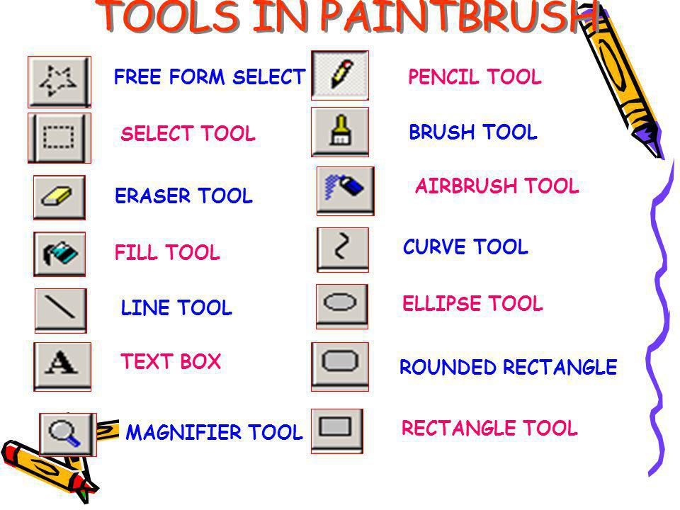 TOOLS IN PAINTBRUSH FREE FORM SELECT FILL TOOL PENCIL TOOL BRUSH TOOL AIRBRUSH TOOL TEXT BOX LINE TOOL ERASER TOOL SELECT TOOL MAGNIFIER TOOL CURVE TOOL ELLIPSE TOOL ROUNDED RECTANGLE RECTANGLE TOOL