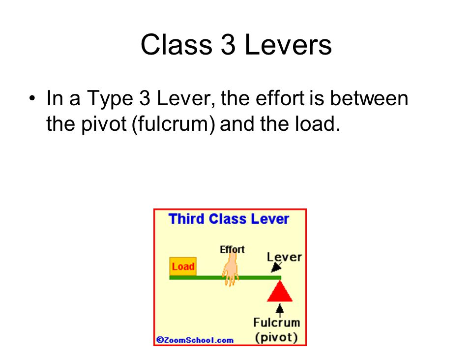 Class 3 Levers In a Type 3 Lever, the effort is between the pivot (fulcrum) and the load.