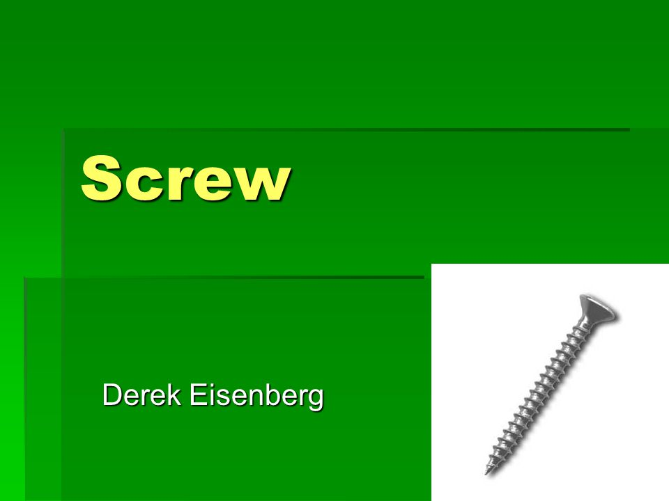What is a screw. A screw is one of the six simple machines.