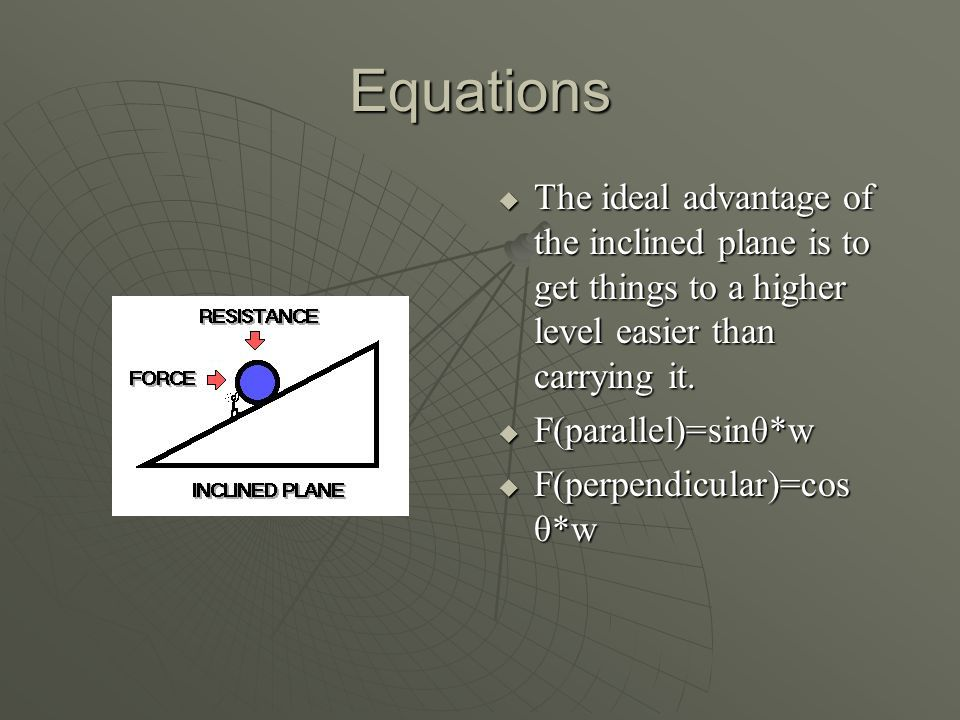 Equations  The ideal advantage of the inclined plane is to get things to a higher level easier than carrying it.