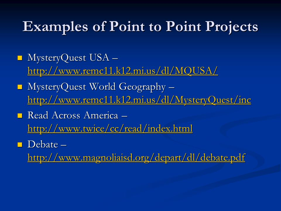 Examples of Point to Point Projects MysteryQuest USA –   MysteryQuest USA –     MysteryQuest World Geography –   MysteryQuest World Geography –     Read Across America –   Read Across America –     Debate –   Debate –
