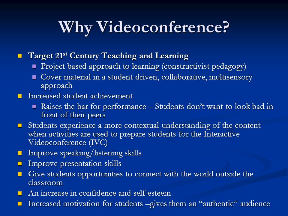 Why Videoconference.