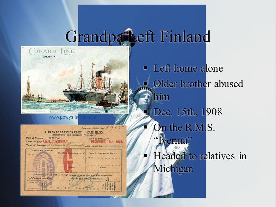 Grandpa Left Finland  Left home alone  Older brother abused him  Dec.