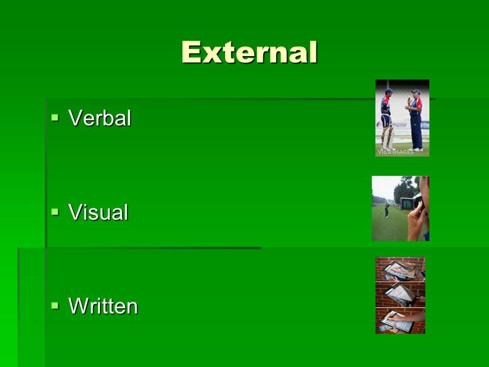 External  Verbal  Visual  Written