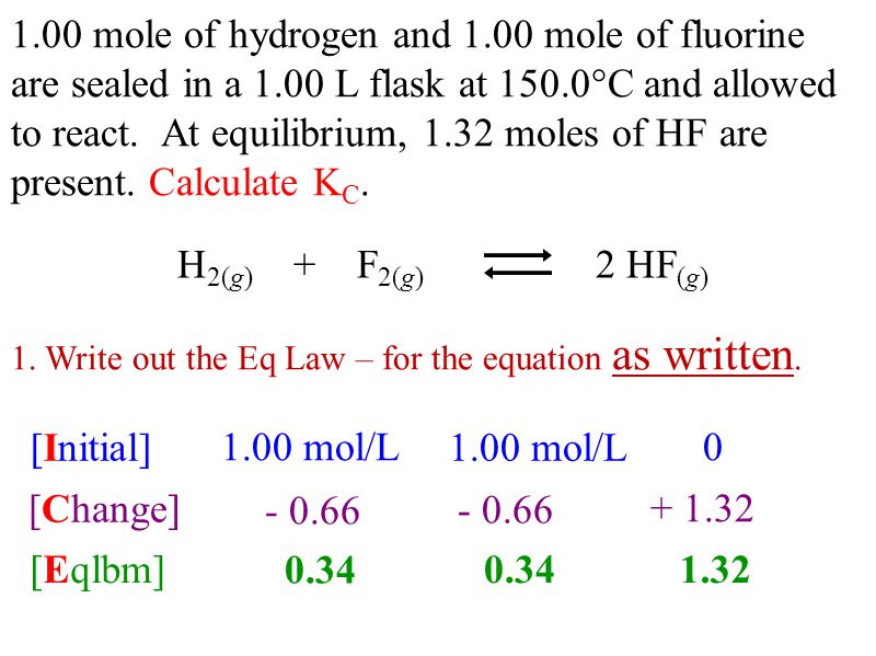 1.00 mole of hydrogen and 1.00 mole of fluorine are sealed in a 1.00 L flask at 150.0°C and allowed to react.