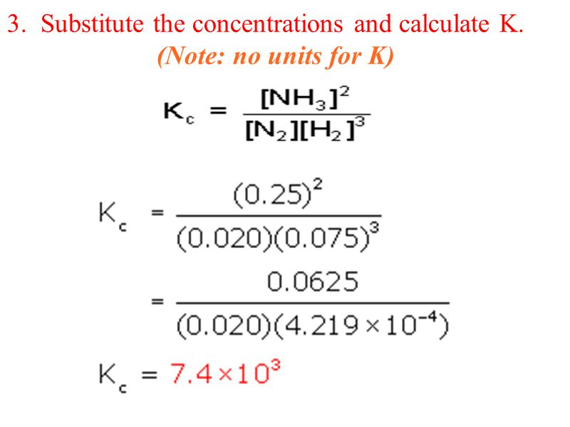 3. Substitute the concentrations and calculate K. (Note: no units for K)