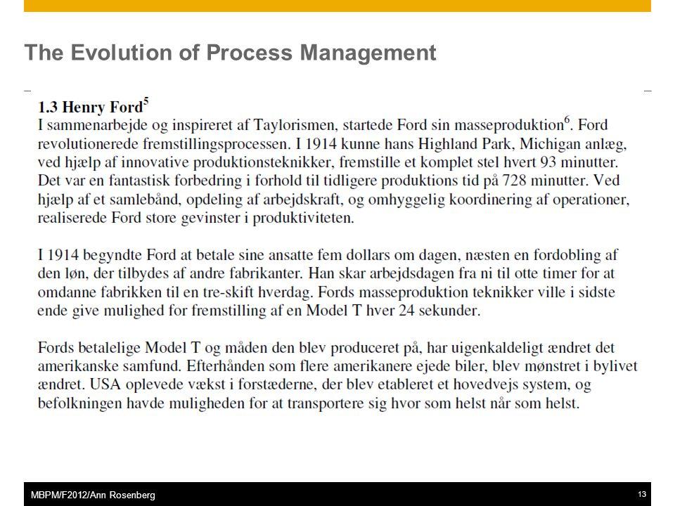 ©2011 SAP AG. All rights reserved.13 MBPM/F2012/Ann Rosenberg The Evolution of Process Management