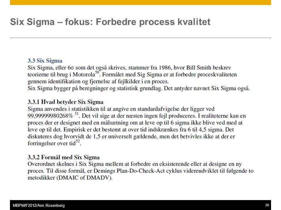 ©2011 SAP AG. All rights reserved.20 MBPM/F2012/Ann Rosenberg Six Sigma – fokus: Forbedre process kvalitet