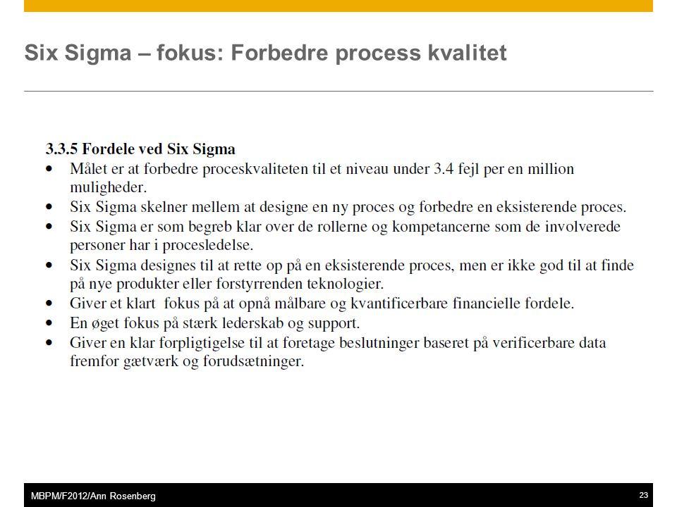 ©2011 SAP AG. All rights reserved.23 MBPM/F2012/Ann Rosenberg Six Sigma – fokus: Forbedre process kvalitet