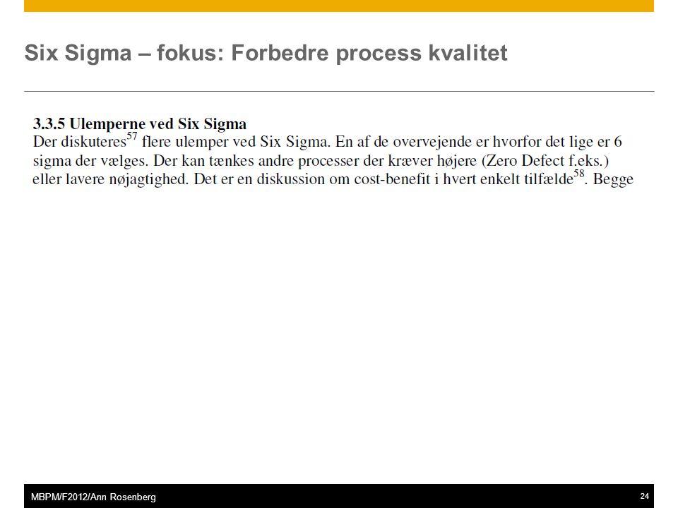 ©2011 SAP AG. All rights reserved.24 MBPM/F2012/Ann Rosenberg Six Sigma – fokus: Forbedre process kvalitet