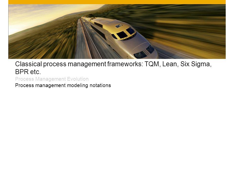 Classical process management frameworks: TQM, Lean, Six Sigma, BPR etc. Process Management Evolution Process management modeling notations