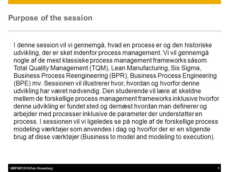 ©2011 SAP AG. All rights reserved.4 MBPM/F2012/Ann Rosenberg Purpose of the session I denne session vil vi gennemgå, hvad en process er og den histori