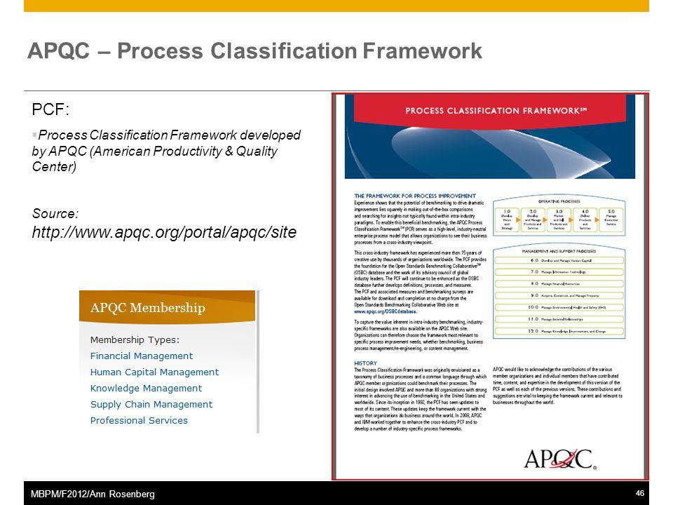 ©2011 SAP AG. All rights reserved.46 MBPM/F2012/Ann Rosenberg APQC – Process Classification Framework PCF:  Process Classification Framework develope