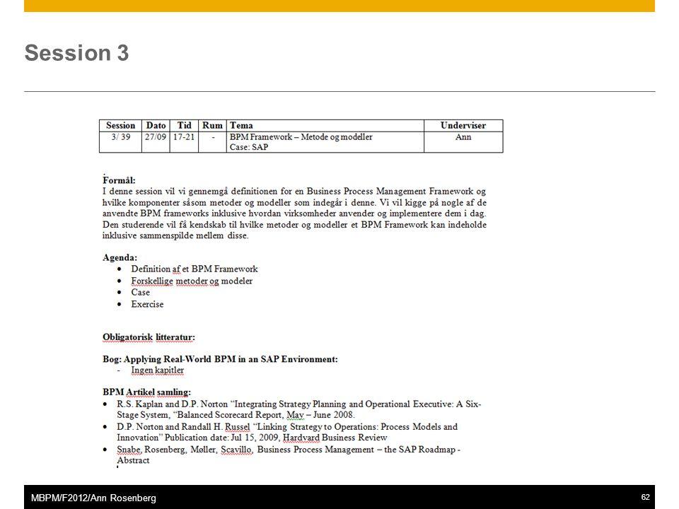 ©2011 SAP AG. All rights reserved.62 MBPM/F2012/Ann Rosenberg Session 3