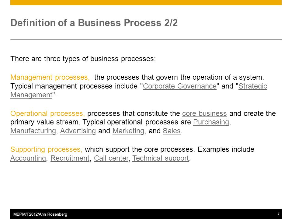 ©2011 SAP AG. All rights reserved.8 MBPM/F2012/Ann Rosenberg The Business Process Lifecycle