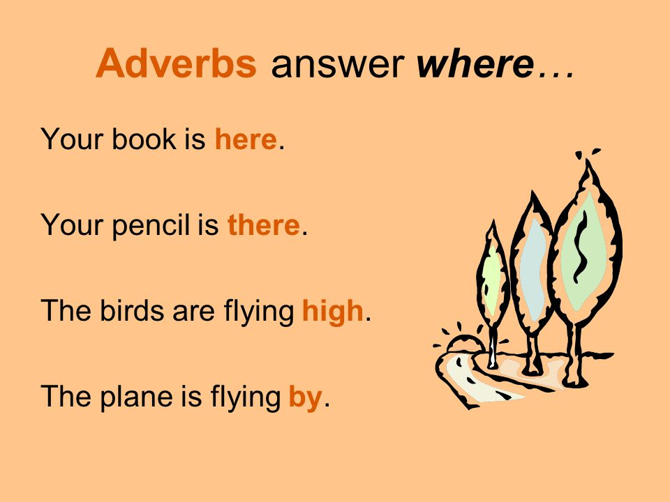 Adverbs answer where… Your book is here. Your pencil is there. The birds are flying high. The plane is flying by.