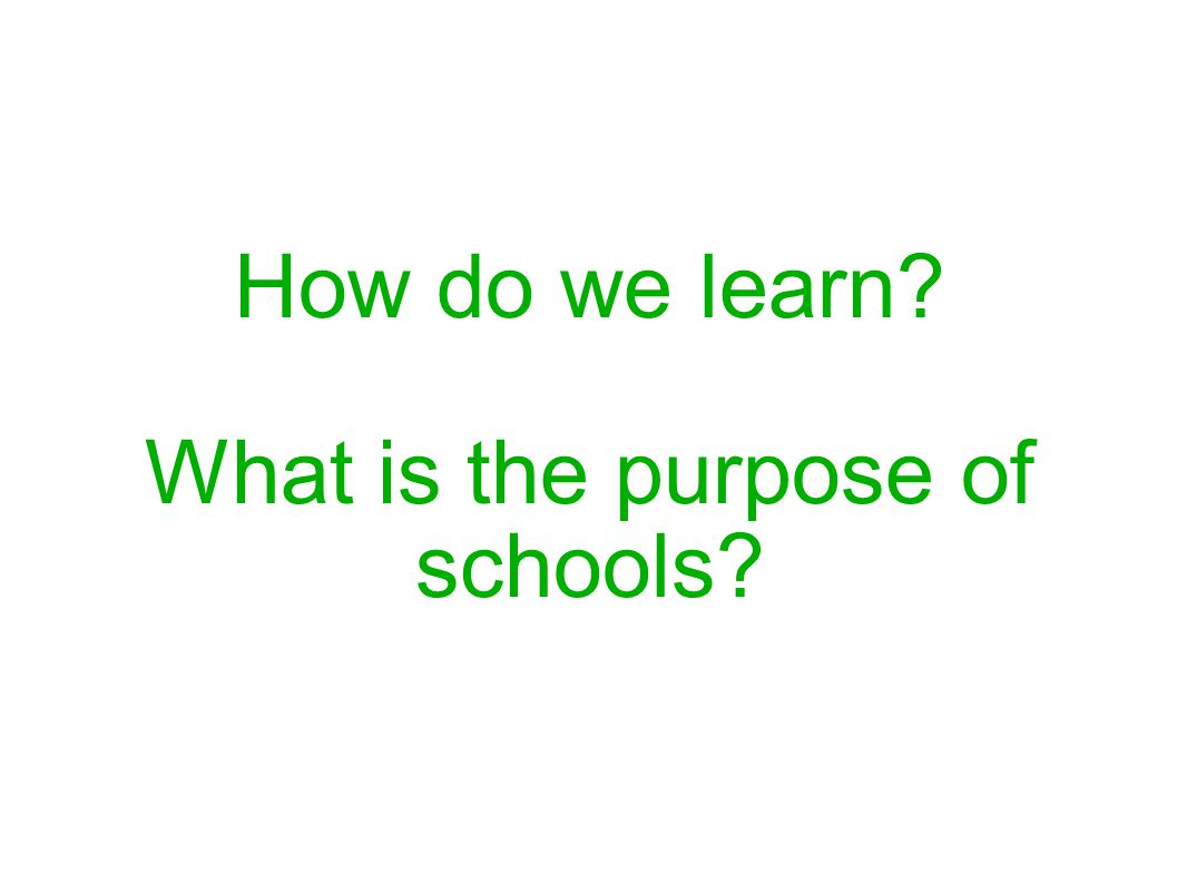 How do we learn? What is the purpose of schools?
