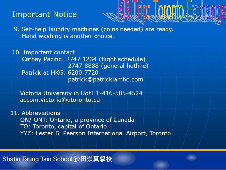 Shatin Tsung Tsin School 沙田崇真學校 Important Notice 11.