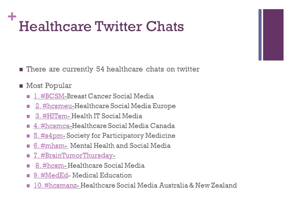 + Healthcare Twitter Chats There are currently 54 healthcare chats on twitter Most Popular 1. #BCSM-Breast Cancer Social Media 1. #BCSM 2. #hcsmeu-Hea