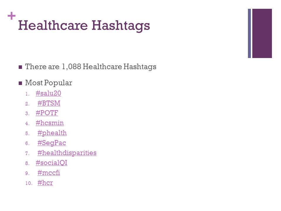 + Healthcare Hashtags There are 1,088 Healthcare Hashtags Most Popular 1. #salu20 #salu20 2. #BTSM#BTSM 3. #POTF #POTF 4. #hcsmin #hcsmin 5. #phealth#