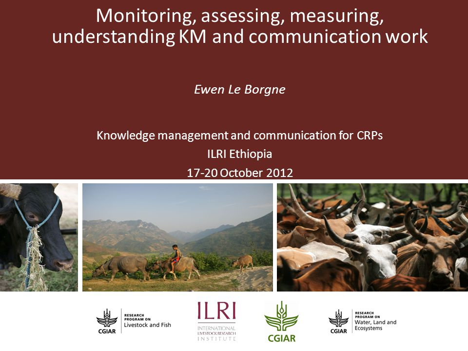 Partner Logo Monitoring, assessing, measuring, understanding KM and communication work Ewen Le Borgne Knowledge management and communication for CRPs ILRI Ethiopia 17-20 October 2012