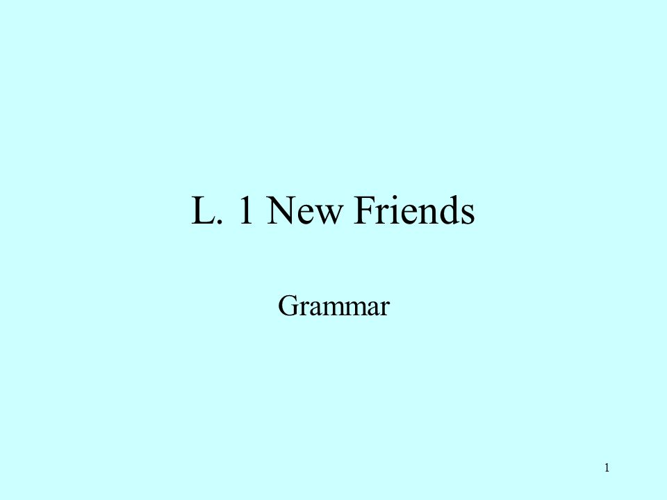 1 L. 1 New Friends Grammar
