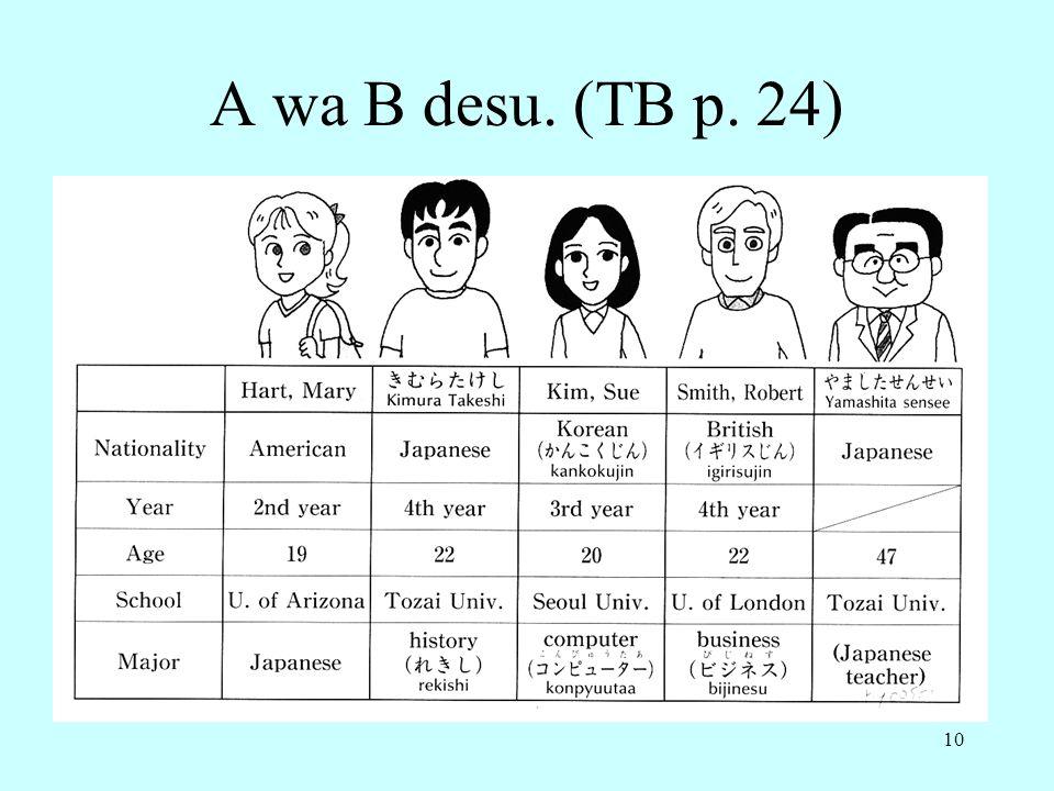 10 A wa B desu. (TB p. 24)