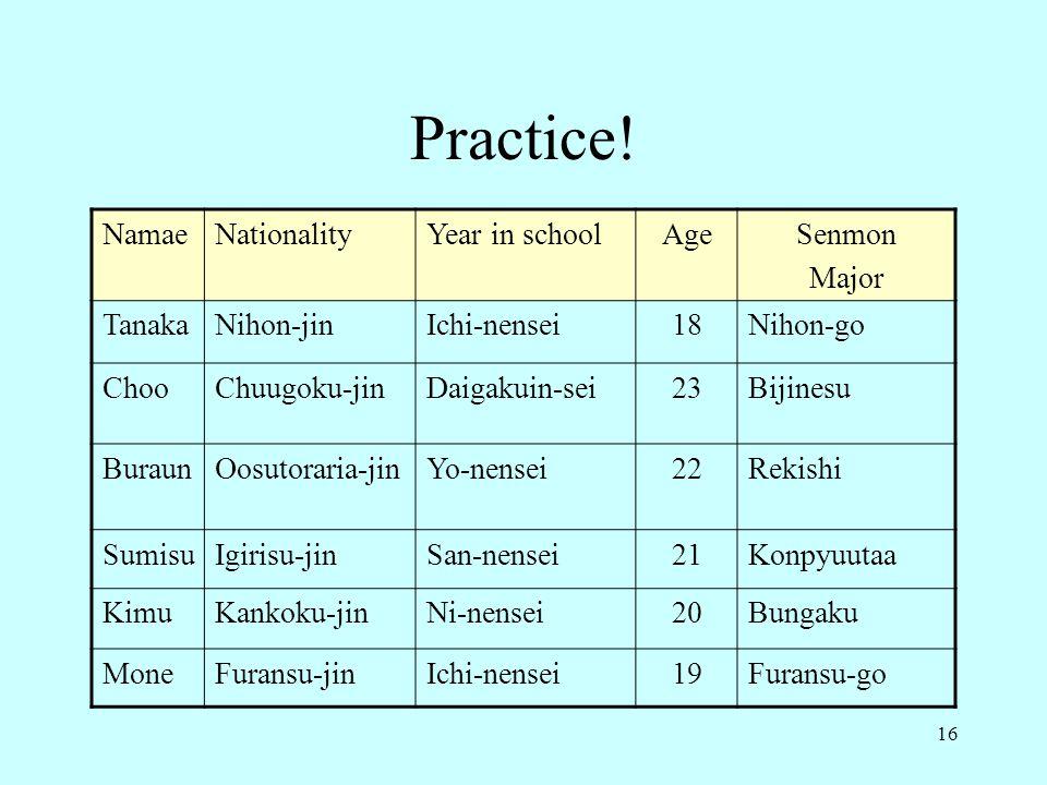 16 Practice.