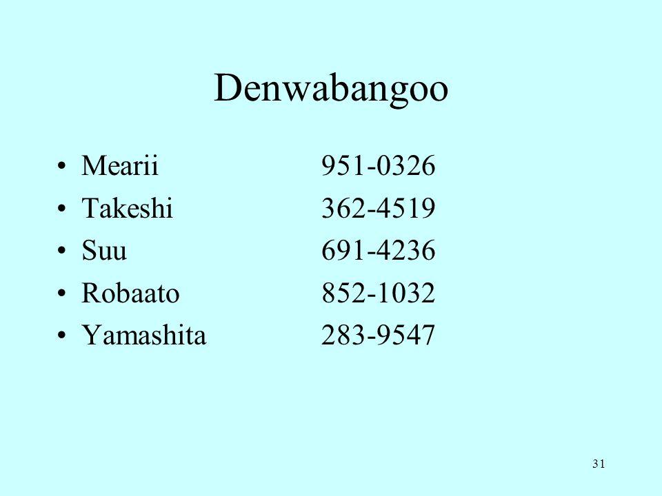 31 Denwabangoo Mearii951-0326 Takeshi362-4519 Suu691-4236 Robaato852-1032 Yamashita283-9547