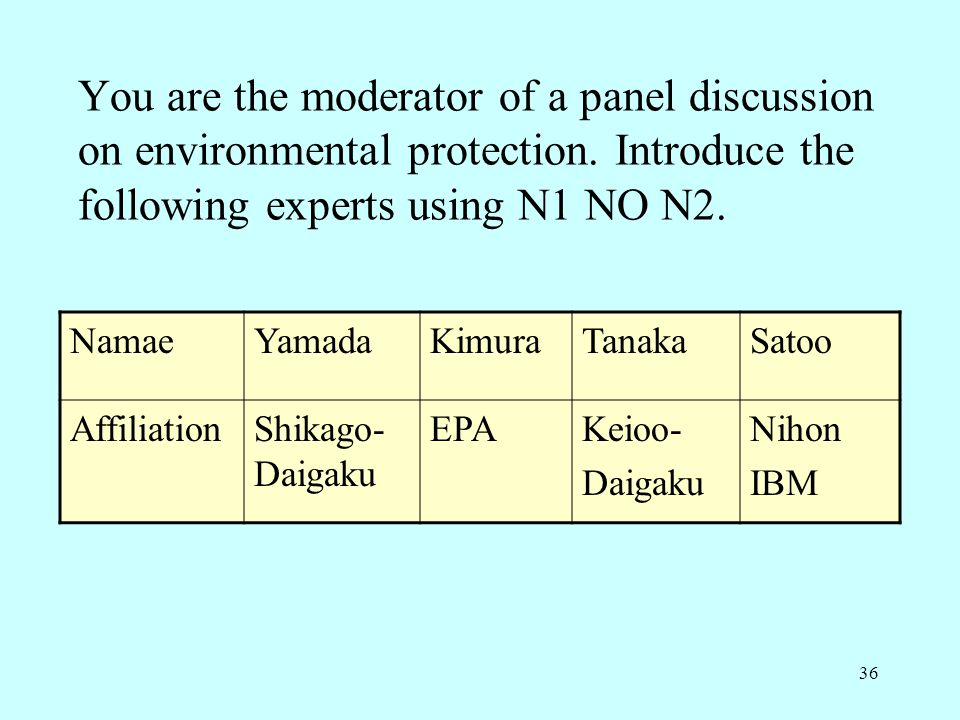 36 You are the moderator of a panel discussion on environmental protection. Introduce the following experts using N1 NO N2. NamaeYamadaKimuraTanakaSat