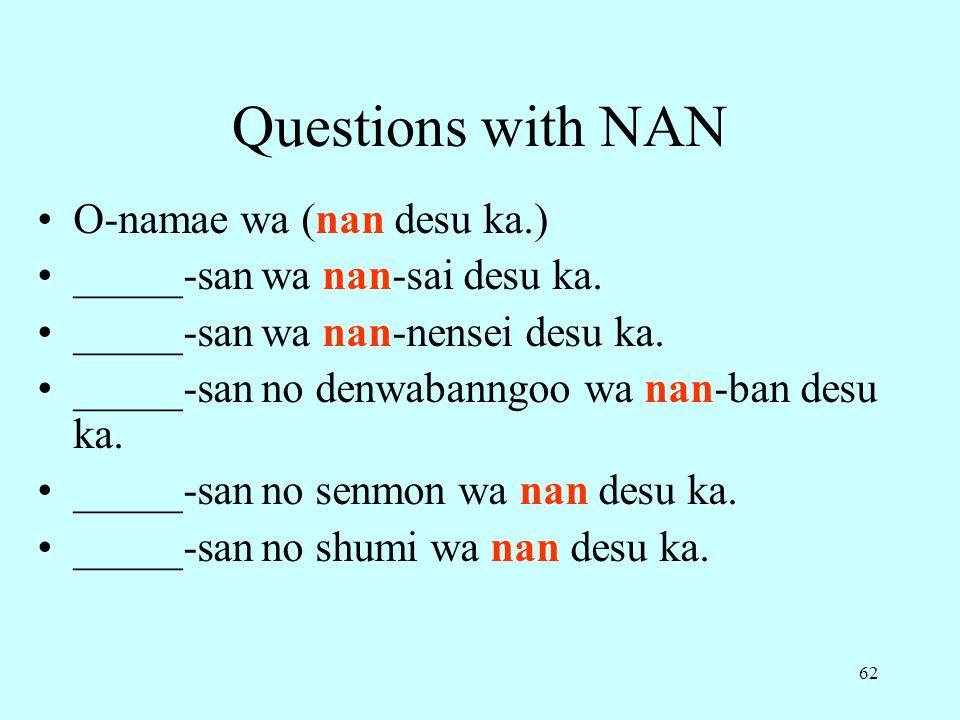 62 Questions with NAN O-namae wa (nan desu ka.) _____-san wa nan-sai desu ka.