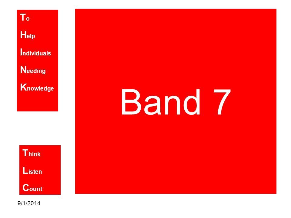 T o H elp I ndividuals N eeding K nowledge T hink L isten C ount 9/1/2014 Band 7