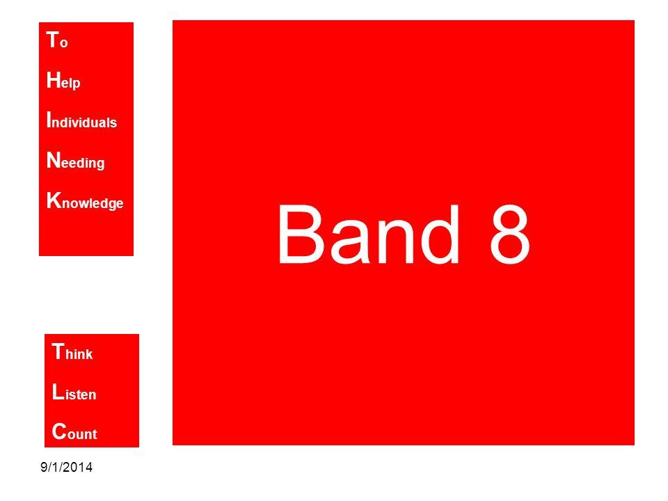 T o H elp I ndividuals N eeding K nowledge T hink L isten C ount 9/1/2014 Band 8