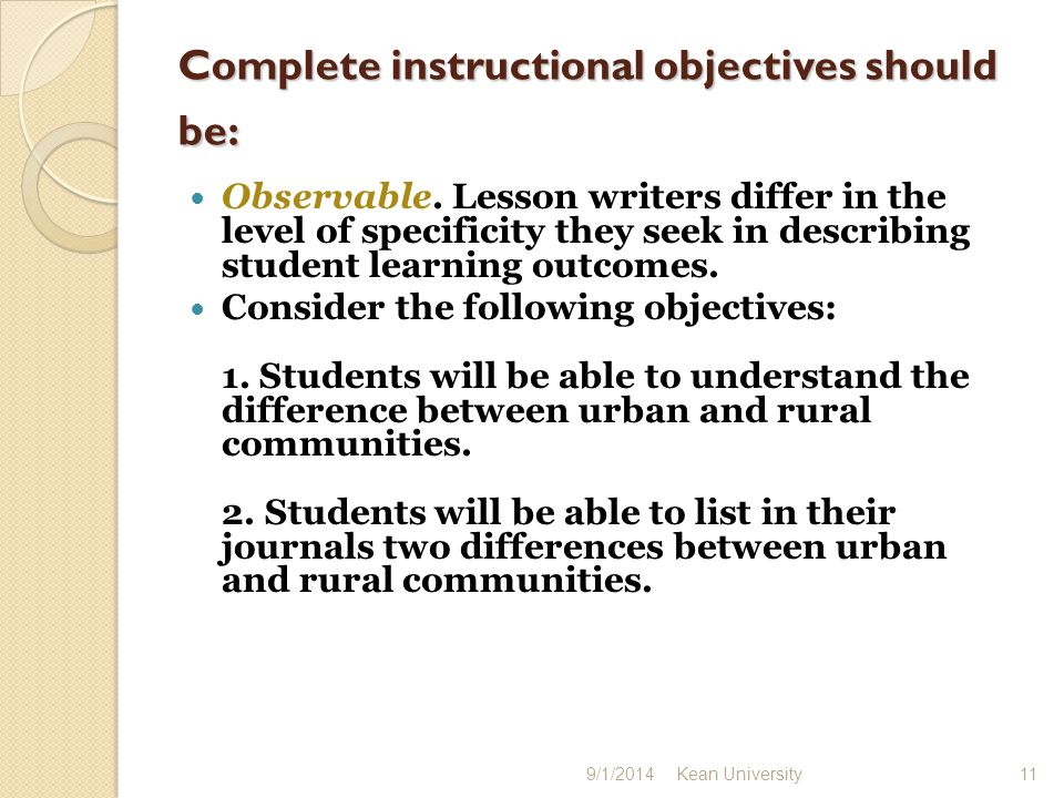 Complete instructional objectives should be: Complete instructional objectives should be: Observable.