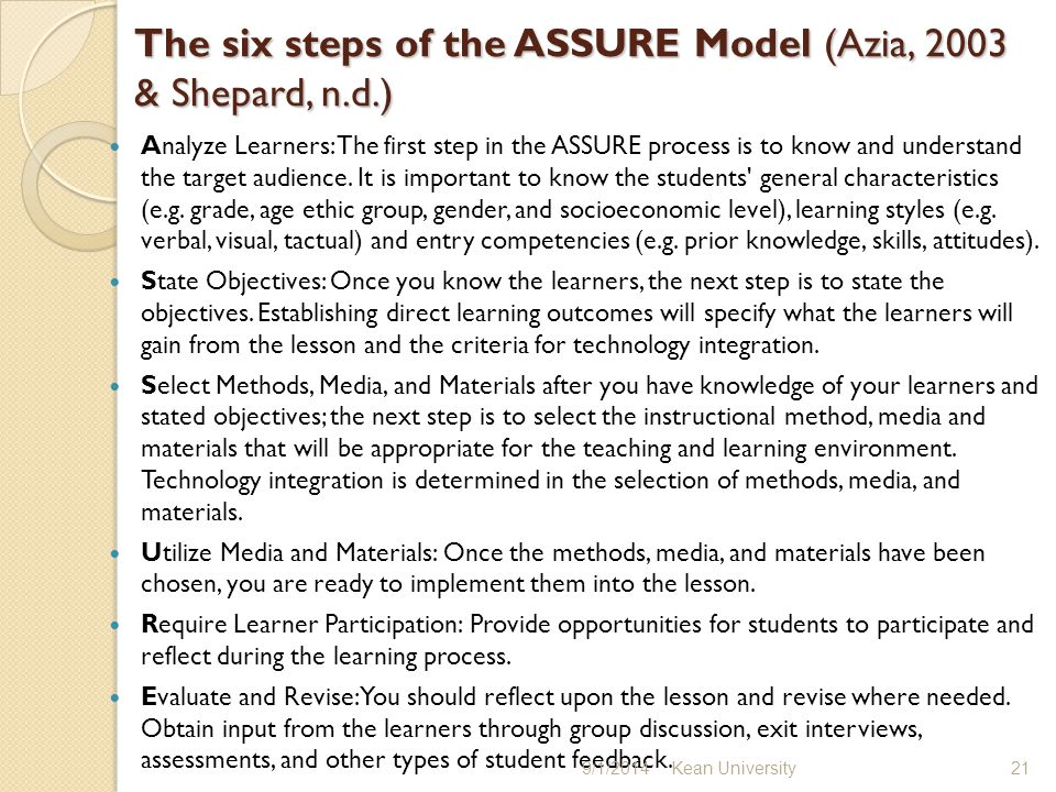 The six steps of the ASSURE Model (Azia, 2003 & Shepard, n.d.) Analyze Learners: The first step in the ASSURE process is to know and understand the target audience.
