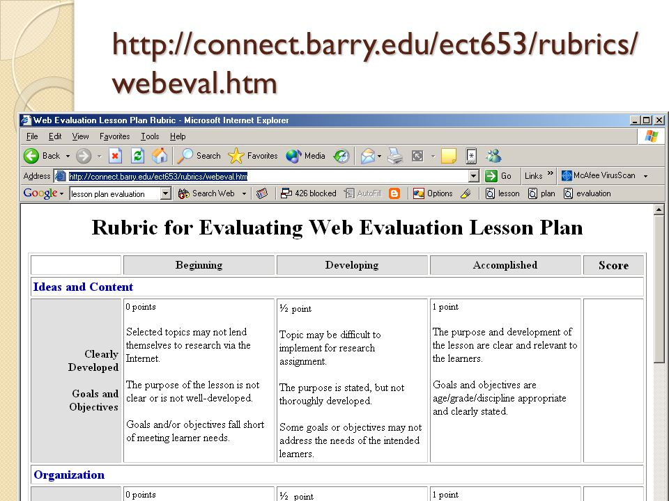 http://connect.barry.edu/ect653/rubrics/ webeval.htm 9/1/2014 Kean University 29