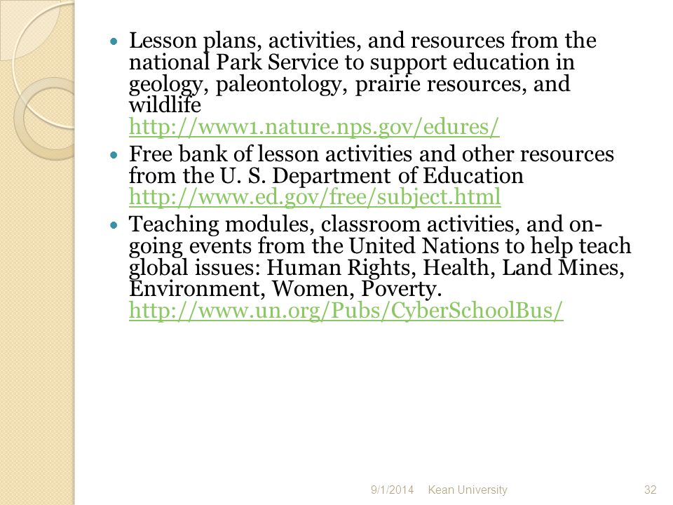 Lesson plans, activities, and resources from the national Park Service to support education in geology, paleontology, prairie resources, and wildlife     Free bank of lesson activities and other resources from the U.