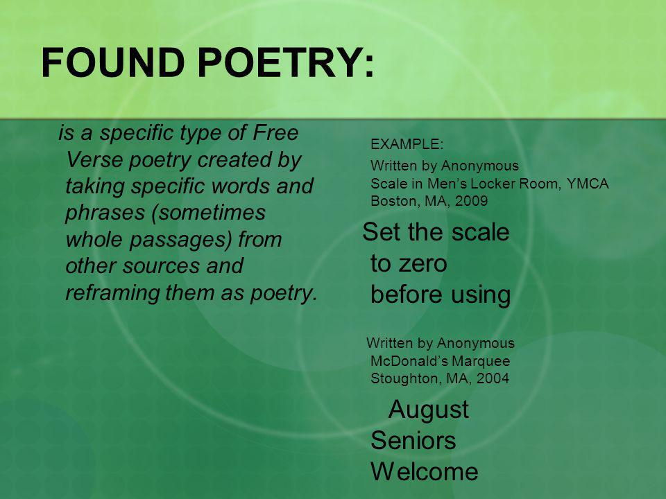 Part II FREE VERSE POETRY- a type of poetry that does not have a specific structured rhythm or rhyme and can sound very conversational.