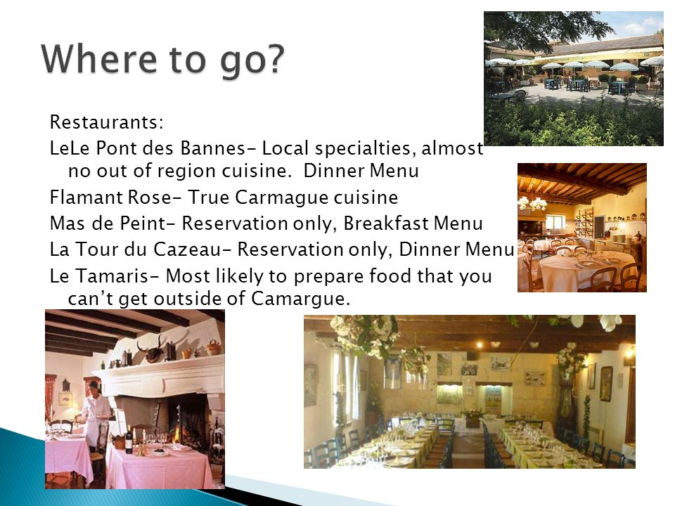 Restaurants: LeLe Pont des Bannes- Local specialties, almost no out of region cuisine. Dinner Menu Flamant Rose- True Carmague cuisine Mas de Peint- R