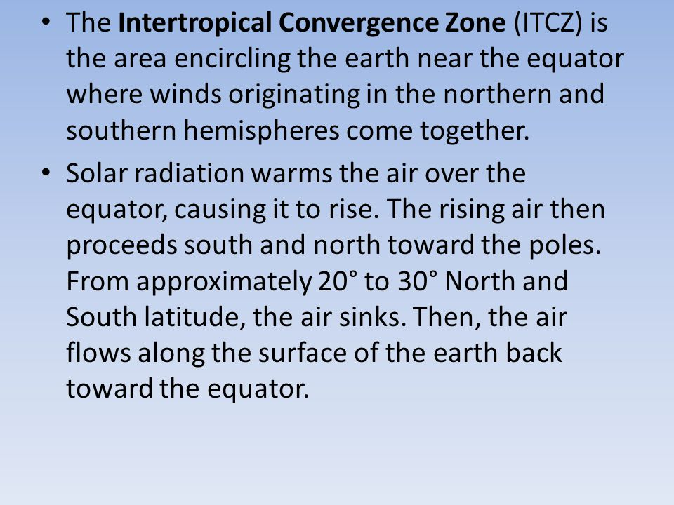 Sailors noticed the stillness of the rising (and not blowing) air near the equator and gave the region the depressing name doldrums. The doldrums, usually located between 5° north and 5° south of the equator, are also known as the Intertropical Convergence Zone or ITCZ for short.