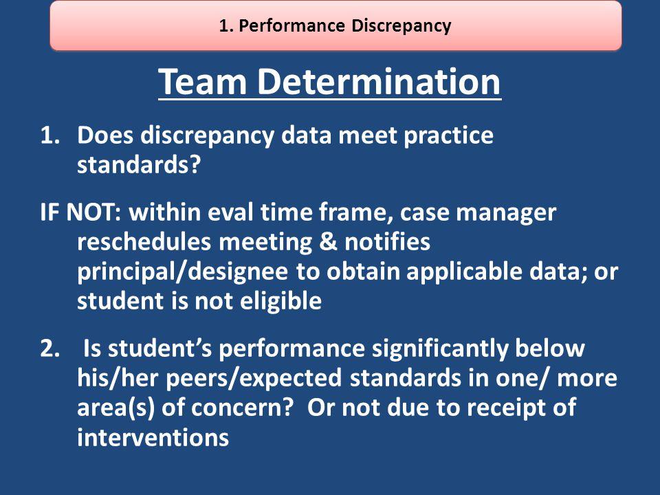 Team Determination 1.Does discrepancy data meet practice standards.