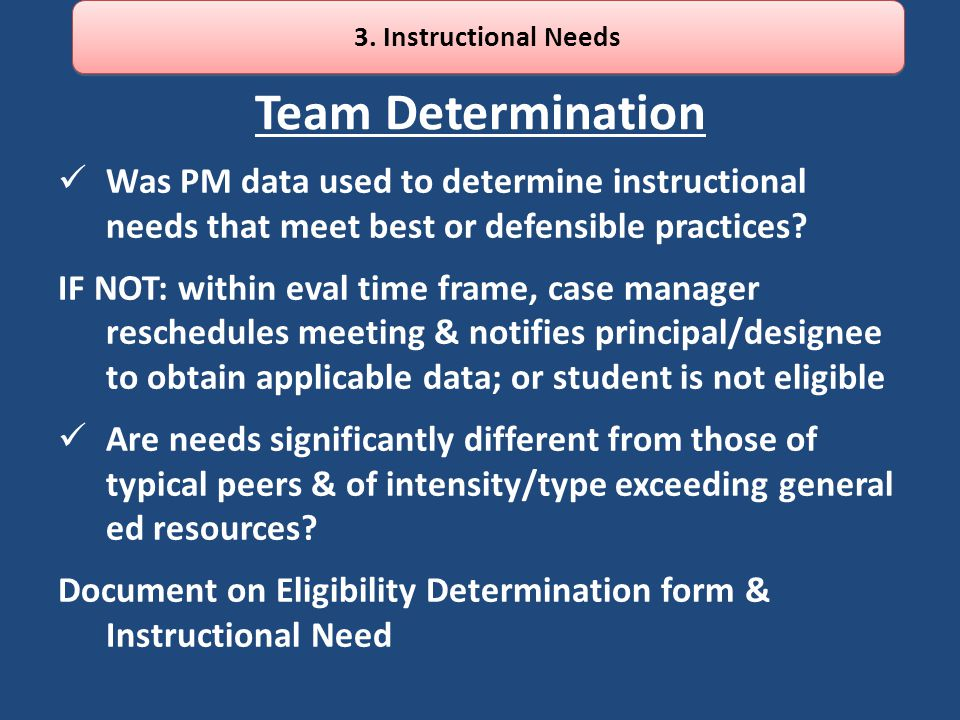 Team Determination Was PM data used to determine instructional needs that meet best or defensible practices? IF NOT: within eval time frame, case mana