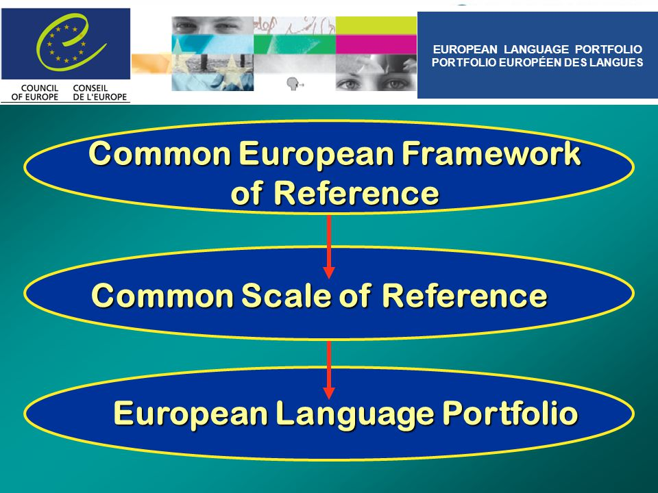 European Language Portfolio Common Scale of Reference Common European Framework of Reference EUROPEAN LANGUAGE PORTFOLIO PORTFOLIO EUROPÉEN DES LANGUE