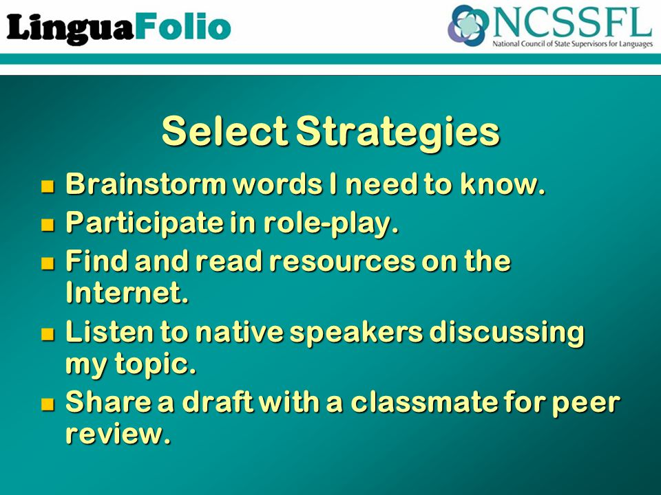 Select Strategies Brainstorm words I need to know. Brainstorm words I need to know. Participate in role-play. Participate in role-play. Find and read
