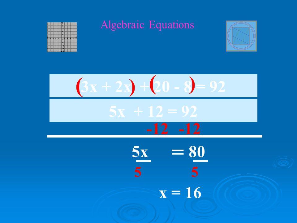 Algebraic Equations -20 10x = 60 10 4x +6x + 20 = 80 ( ) 10x + 20 = 80 10 x = 6