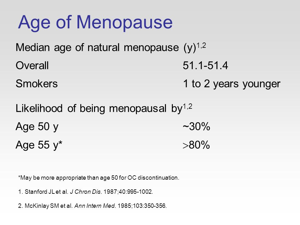 Age of Menopause Median age of natural menopause (y) 1,2 Overall51.1-51.4 Smokers1 to 2 years younger Likelihood of being menopausal by 1,2 Age 50 y~30% Age 55 y*  80% *May be more appropriate than age 50 for OC discontinuation.